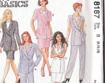 McCalls 8187 Sewing Pattern Slacks, Jacket, Skirt 8-10-12 Fashion Basics petite-able select a size