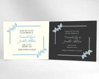 Art Nouveau Save The Date Cards, Vintage Inspired Wedding Announcements. Choose White or Black Background, then Accent It WIth Your Color