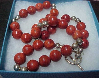 """Vintage Sponge Coral Beads Necklace, Hand Knotted, 10mm, with Sterling Silver Beads, 6mm, Toggle Closure, 17"""" long"""