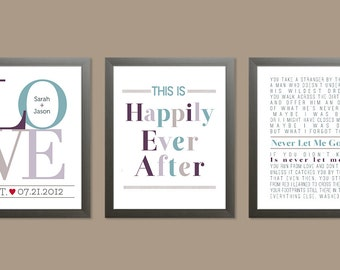 Custom Trio Wedding Prints, Set of three 8x10 personalized prints (Love, Happily Ever After, & Song lyrics) custom colors, wedding gift idea
