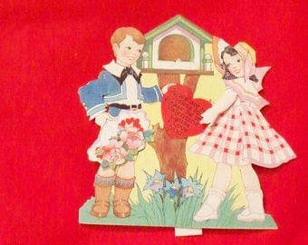 Antique Carrington Die Cut Mechanical Valentine Card Young Boy and Girl Bluebirds Roses Are Red Violets Blue Made In USA