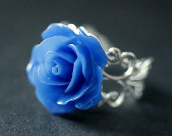Cobalt Blue Rose Ring. Blue Flower Ring. Filigree Adjustable Ring. Flower Jewelry. Handmade Jewelry.
