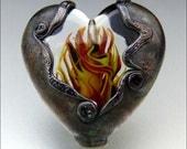 HEART'S ON FIRE - Handmade Lampwork Heart Pendant Bead - by Stephanie Gough sra fhfteam leteam