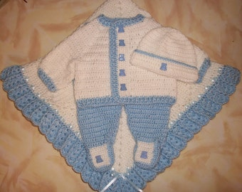 Crochet Baby Boy Sweater Set Layette With Leggings Perfect Shower Gift or Take Home Outfit