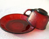Reserved Listing for Yankeegirl - Vintage French Glass Cup and Saucer - Ruby Red - Luminarc