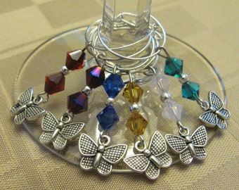Crystal Butterfly Wineglass Charms