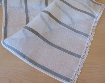 """Linen Table Runner Tablecloth Natural White Gray Striped Linen Lace 61"""" x 16.5"""""""