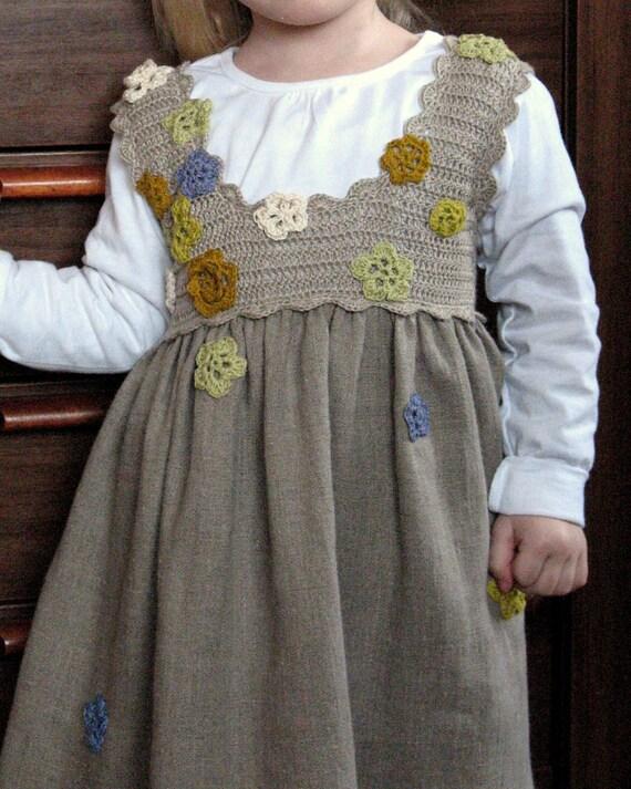 Linen Baby Dress Natural Grey Jumper Dress - A line Dress - Nursery - Children Clothing - 12 months to 6T