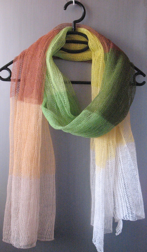 Linen Scarf Shawl Wrap Stole Beige Brown Green Salad Yellow Multicolored, Light, Transparent. . .