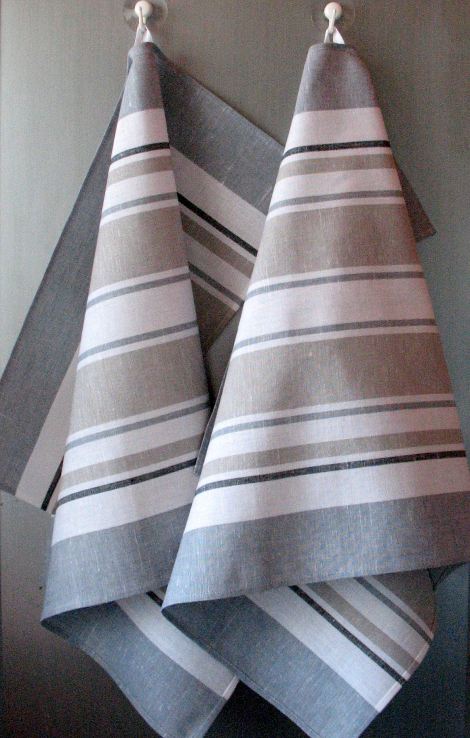 Linen Cotton Dish Towels Striped Black White Gray Tea Towels