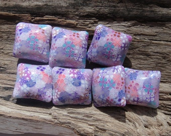 Polymer Clay Pillow Beads Summer Pastel Flowers