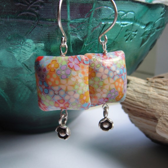 Earrings Polymer Clay Spring Flowers' Pillows Sterling Silver