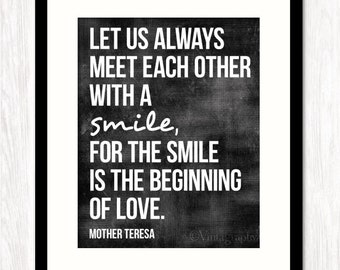 Mother Teresa Quote, Meet With a Smile, Wall Decor, Typography Art Print Poster,Christian Wall Decor, CHOOSE Your BACKGROUND COLOR