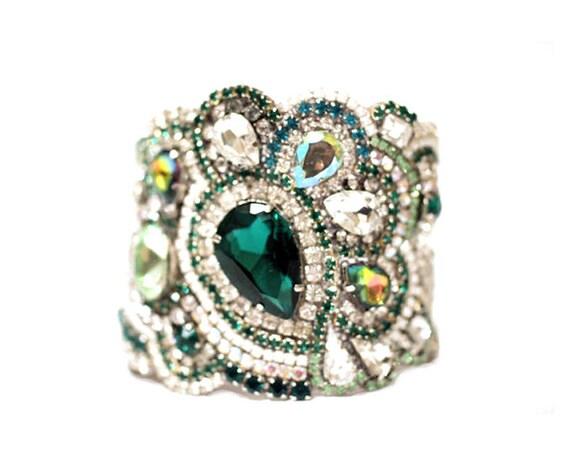 All Swarovski Crystal Emerald Rhinestone Cuff with Clasp Or Ribbon Tie