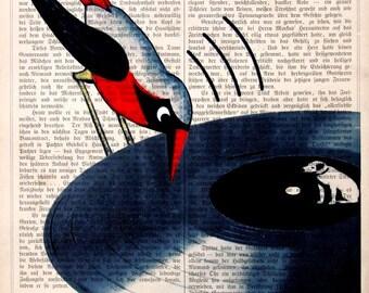 DISC JOCKEY giclee print poster mixed media painting wall decor