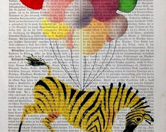 BALLOONIST  Print Poster Mixed Media Painting