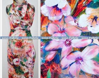 Stretchy Silk Satin Fabric ,printed fresh summer flower fashion design silk supplies
