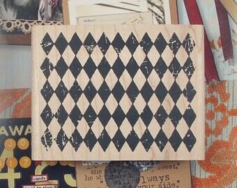 Diamond Pattern Background Rubber Stamp