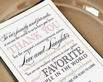 Printable Wedding Thank You Note for Guests, Calligraphy, Welcome Bag Tag