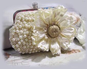 Bridal clutch, Unique Crystal bridal clutch, bridesmaids Victorian evening bag, Ivory clutch, wedding clutch