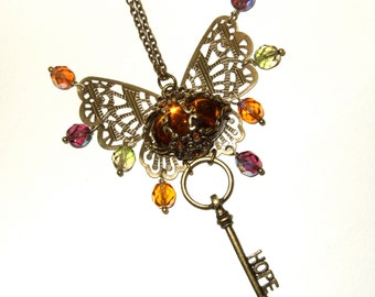 Butterfly Necklace, Beaded Statement Necklace, Key Jewellery, Large Assemblage Necklace, Big Bronze Pendant, Steampunk Jewelry, Autumn Fall