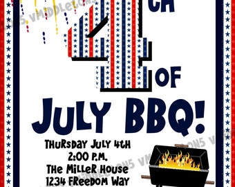 4th of July Patriotic BBQ Cookout Invitation Print Your Own 5x7 or 4x6