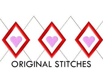 Argyle Heart Valentine's Day Applique and Machine Embroidery Digital Design File 4x4 5x7 6x10