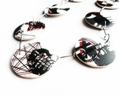 Ceramic necklace made of porcelain and stainless steel red and black decals