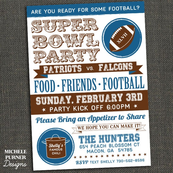 SUPER BOWL PARTY - football party invitation - Printable or Printed for you
