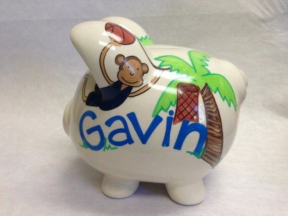 Personalized Piggy Bank Lamb & Ivy Team Safari
