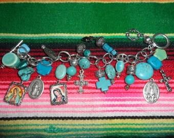 TURQUOISE AND SANTOS Charm Bracelet