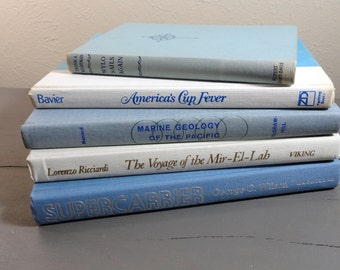 Vintage Blue and White Nautical Sea Book Collection