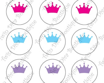 Editable Crown images - includes 3 sheets in varioud colors - 1 inch image sheets for bottle caps