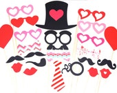 Valentines Day Props - 24 pieces on a stick - Great Photobooth Props - Valentines Day Props