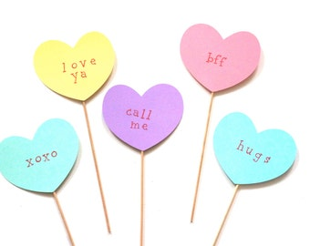 Valentines Day Photo Booth Prop Set - 5 Conversation Hearts on a stick - Great Photobooth Props - Valentines Day Props