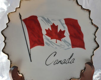 Vintage Canadian Flag Decorative Wall Plate