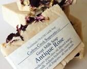 Goat Milk Antique Soap, Rose Scented Soap, milk soap, olive oil castile, rose castile, floral soap, face body bar