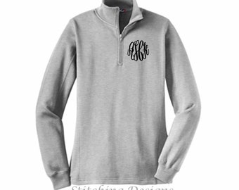 SALE Monogrammed 1/4 Zip Sweatshirt Monogrammed by shopmemento