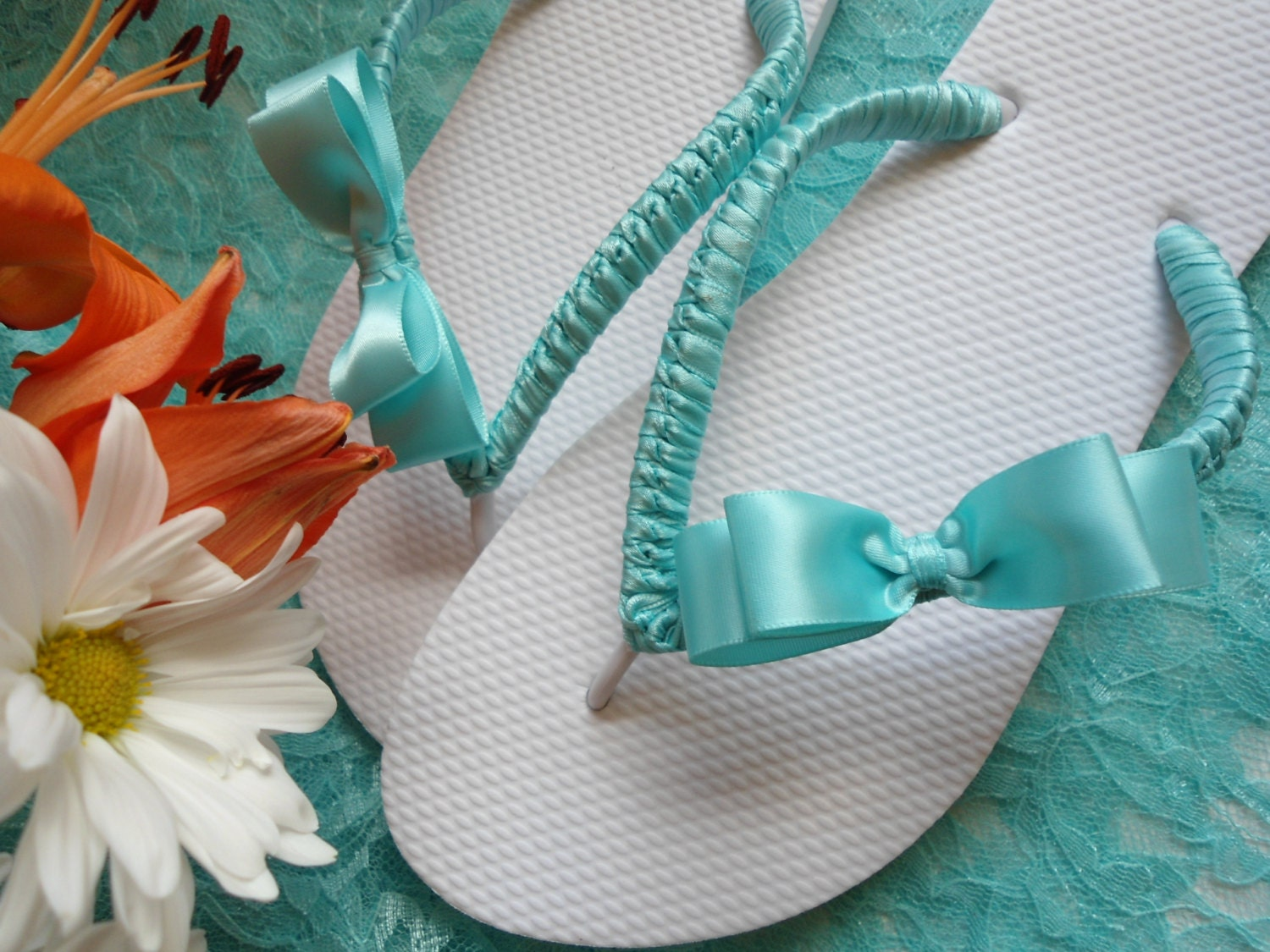 bridal flip flops aqua beach wedding flip by adrianasantosbridal