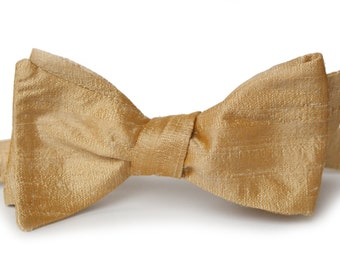 Gold Shantung Bow Tie