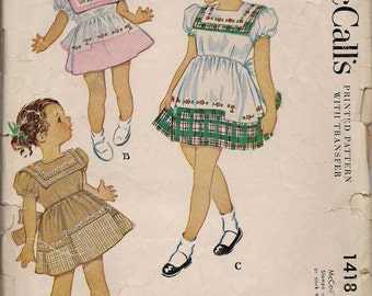 1948 Printed Sewing Pattern McCall's 1418 toddler dress size 2