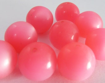 20 Vintage 12mm Pink Moonglow Lucite Beads Bd777