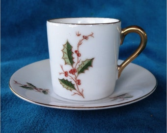 Vintage Demitasse Espresso Cup and Saucer Holly