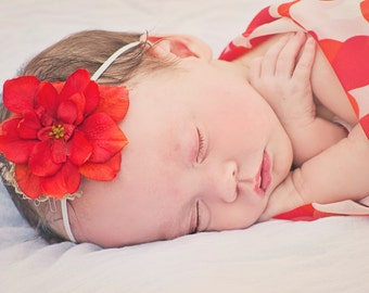 Vibrant Burnt Orange Flower Headband for Newborn- Adult