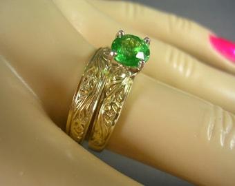 Tsavorite Green Garnet Solitaire Wedding Set Size 7.5 Yellow Gold 14K 5.1gm 1.08 Carats