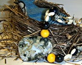 Christmasinjuly,  Sale, Ocean Jasper, Junes Birthstone Necklace Real Pearls - black - yellow - grey beads