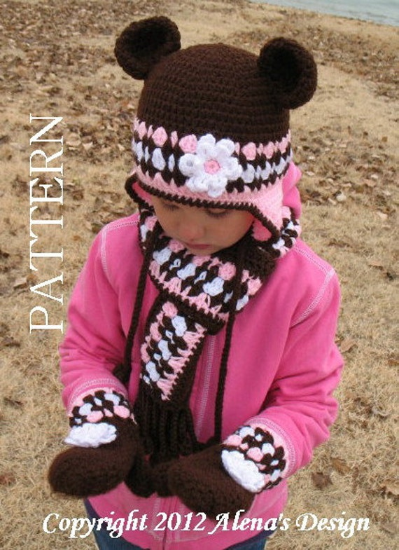 Crochet PATTERN Set  - Bear  Hat,  Chilren's Mittens, and  Scarf - Girls Toddler Children Winter Set Ear Flap Hat Adult Scarf Brown Mittens