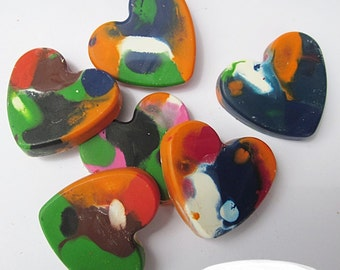 Upcycled Heart Crayons - Multi-Colored, Bag of 6 - Recycled Crayons, Party Favor, Stocking Stuffer
