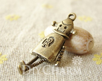 Bronze Tone Robot With Movable Arms And Legs Pendants 36x18mm - 1Pcs - DC26860