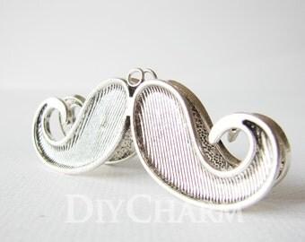 Silver Tone Fashion Charms Mustache Pendants 75x30mm - 2Pcs - DF26829